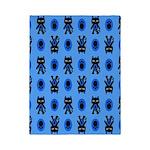 Kawaii Blue Cat and Paw Print Pattern Twin Duvet