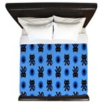 Kawaii Blue Cat and Paw Print Pattern King Duvet