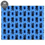Kawaii Blue Cat and Paw Print Pattern Puzzle
