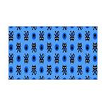 Kawaii Blue Cat and Paw Print Pattern 35x21 Wall D