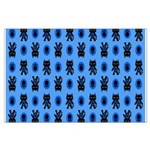 Kawaii Blue Cat and Paw Print Pattern Large Poster