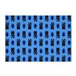 Kawaii Blue Cat and Paw Print Pattern 5'x7'Area Ru