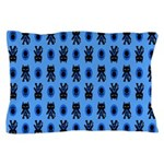 Kawaii Blue Cat and Paw Print Pattern Pillow Case