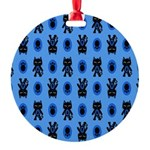 Kawaii Blue Cat and Paw Print Pattern Round Orname
