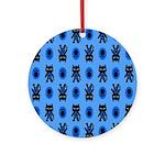 Kawaii Blue Cat and Paw Print Pattern Ornament (Ro