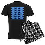 Kawaii Blue Cat and Paw Print Pattern Men's Dark P