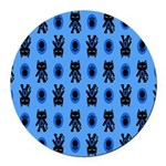 Kawaii Blue Cat and Paw Print Pattern Round Car Ma
