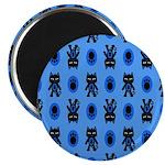 Kawaii Blue Cat and Paw Print Pattern 2.25