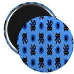 Kawaii Blue Cat and Paw Print Pattern Magnet