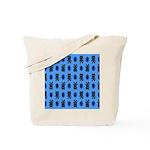 Kawaii Blue Cat and Paw Print Pattern Tote Bag