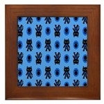 Kawaii Blue Cat and Paw Print Pattern Framed Tile