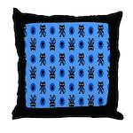 Kawaii Blue Cat and Paw Print Pattern Throw Pillow