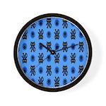 Kawaii Blue Cat and Paw Print Pattern Wall Clock