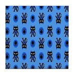 Kawaii Blue Cat and Paw Print Pattern Tile Coaster