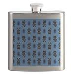 Kawaii Blue Cat and Paw Print Pattern Flask