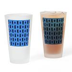 Kawaii Blue Cat and Paw Print Pattern Drinking Gla