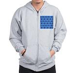 Kawaii Blue Cat and Paw Print Pattern Zip Hoodie