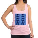 Kawaii Blue Cat and Paw Print Pattern Racerback Ta
