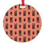 Kawaii Orange Cat Paw Round Ornament