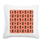 Kawaii Orange Cat Paw Square Canvas Pillow