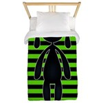 Goth Green and Black Bunny Twin Duvet