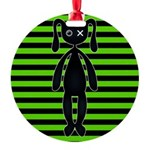 Goth Green and Black Bunny Ornament
