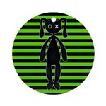 Goth Green and Black Bunny Ornament (Round)