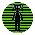 Goth Green and Black Bunny Round Car Magnet