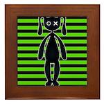 Goth Green and Black Bunny Framed Tile