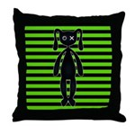 Goth Green and Black Bunny Throw Pillow