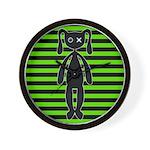 Goth Green and Black Bunny Wall Clock