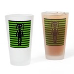 Goth Green and Black Bunny Drinking Glass