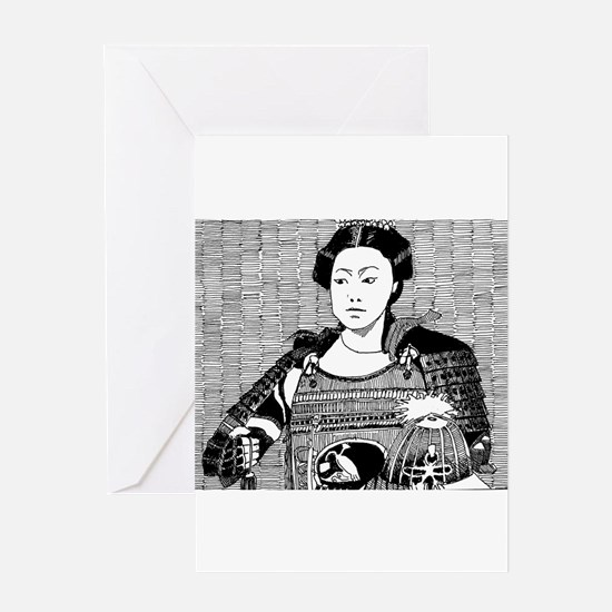 lady samurai Greeting Cards