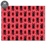 Red Cat Paw Pattern Puzzle