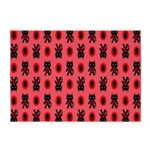 Red Cat Paw Pattern 5'x7'Area Rug