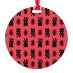 Red Cat Paw Pattern Round Ornament