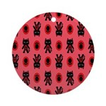 Red Cat Paw Pattern Ornament (Round)