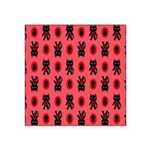 Red Cat Paw Pattern Square Sticker 3