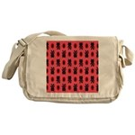 Red Cat Paw Pattern Messenger Bag