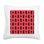 Red Cat Paw Pattern Square Canvas Pillow