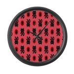 Red Cat Paw Pattern Large Wall Clock