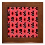 Red Cat Paw Pattern Framed Tile