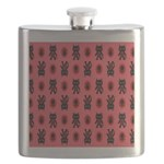 Red Cat Paw Pattern Flask