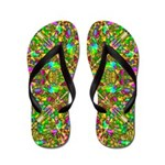 Yellow Mandala Pattern Flip Flops