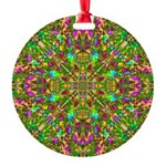 Yellow Mandala Pattern Round Ornament