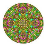 Yellow Mandala Pattern Round Car Magnet