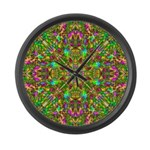 Yellow Mandala Pattern Large Wall Clock
