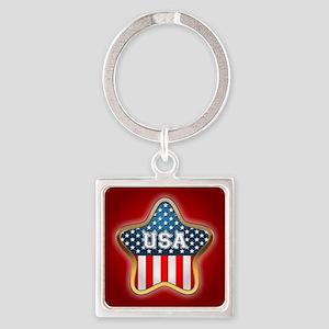 American Star Square Keychain