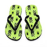 Green Cat Paw Pattern Flip Flops