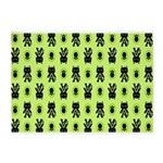 Green Cat Paw Pattern 5'x7'Area Rug